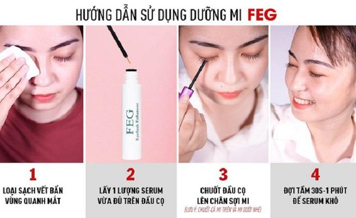Hướng dẫn sử dụng dưỡng mi FEG