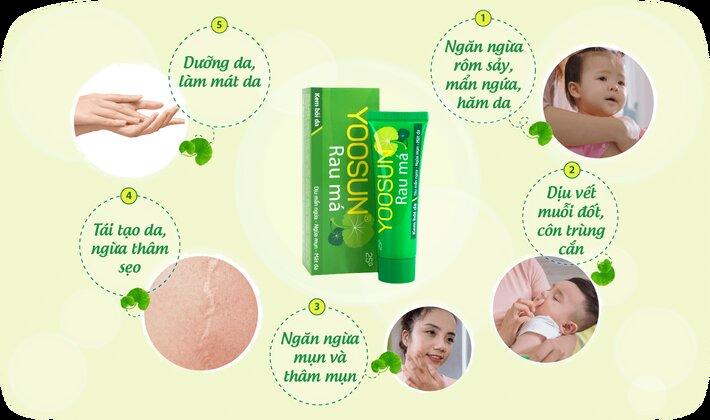 Công dụng của kem rau má Yoosun